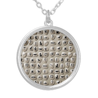 Egyptian Hieroglyphics Stones Pattern Silver Plated Necklace