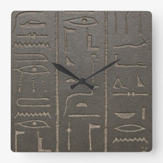 Egyptian Hieroglyphs Ancient Egypt Writing Symbols Square Wall Clock
