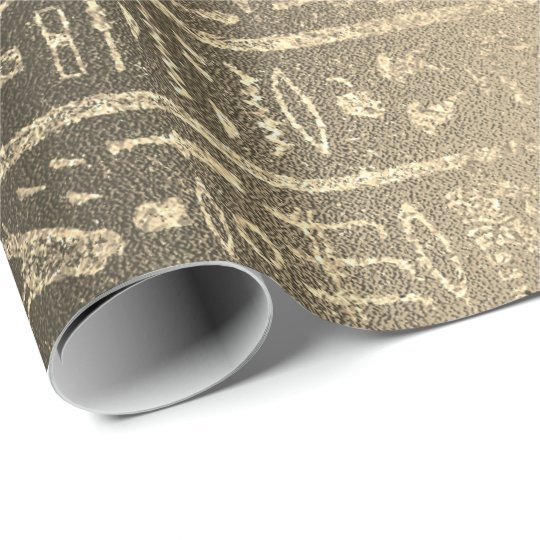 Egyptian Hieroglyphs Gold Faux Sepia Unique Luxury Wrapping