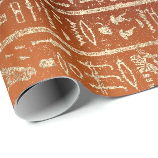 Egyptian Hieroglyphs Gold Foxier Coral Orange Wrapping Paper