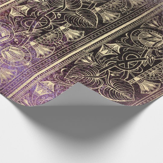 Egyptian Hieroglyphs Gold Foxier Grungy Purple VIP Wrapping