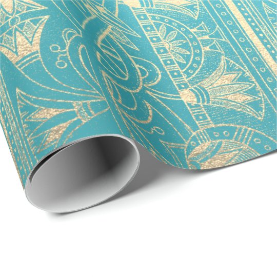 Egyptian Hieroglyphs Gold Foxier Turquoise Ocean Wrapping Paper