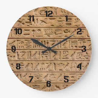 Egyptian Hieroglyphs Large Clock