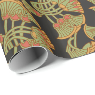 Egyptian Lotus and Papyrus on Black Wrapping Paper