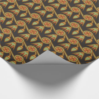 Egyptian Lotus Flower on Black Wrapping Paper