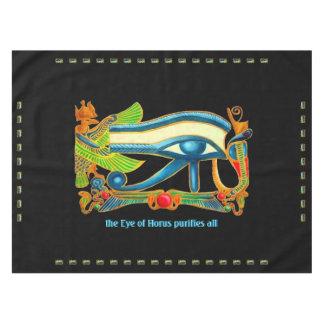 Egyptian Lucky Charm - Eye Of Horus on Teal Tablecloth