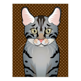 Egyptian Mau Cat Cartoon Paws Post Cards