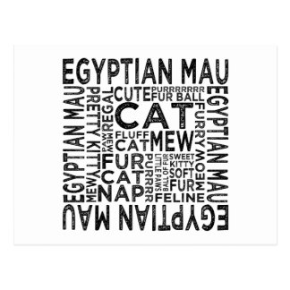 Egyptian Mau Cat Typography Postcards