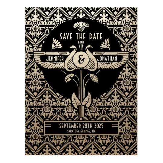 Egyptian Nouveau Wedding Save the Date Postcards
