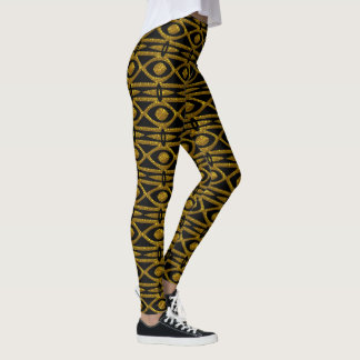 Egyptian Pattern in Black and Gold Leggings