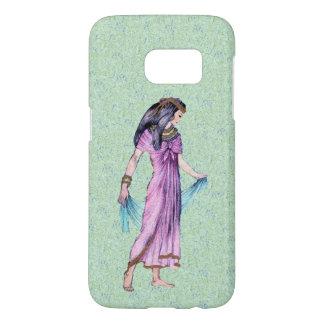 Egyptian Princess Purple Dress Blue Scarf on Green