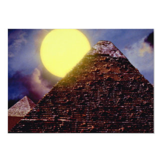 Egyptian pyramid with sun in background invite
