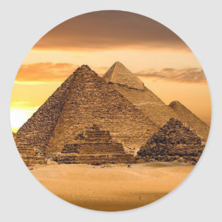 Egyptian pyramids classic round sticker