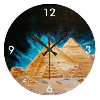 Egyptian Pyramids Round Clock