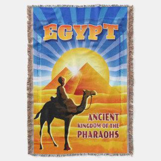 Egyptian Pyramids Sunset Travel Illustration Throw Blanket
