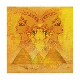 Egyptian queen Cleopatra wood canvas