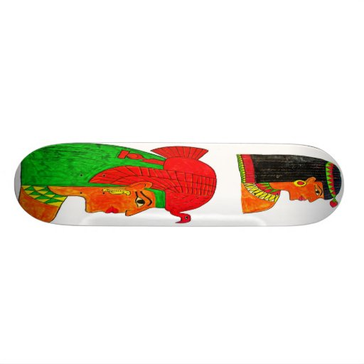 Egyptian Queens Illustration with Headdress Skate Boards