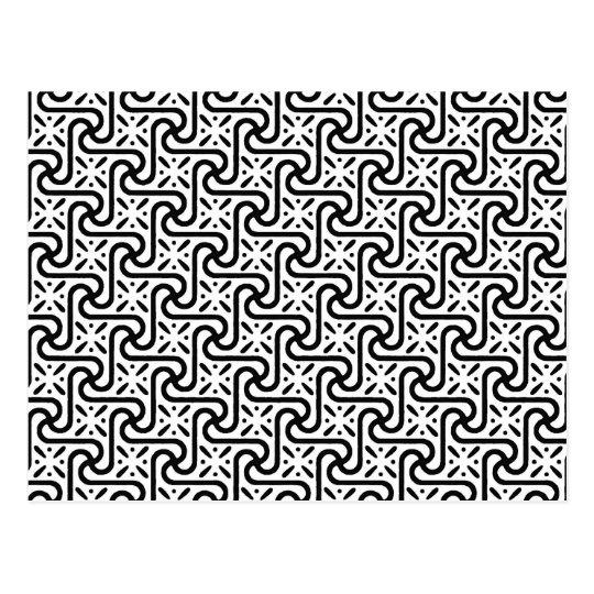 Egyptian tile pattern, black and white postcard