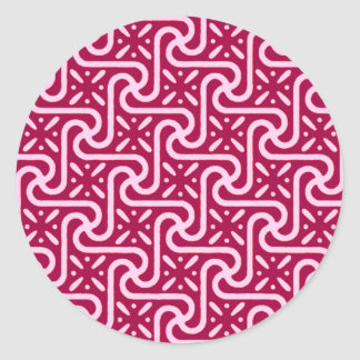 Egyptian tile pattern, burgundy and pink classic round sticker