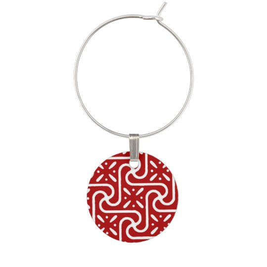 Egyptian tile pattern, dark red and white wine charms