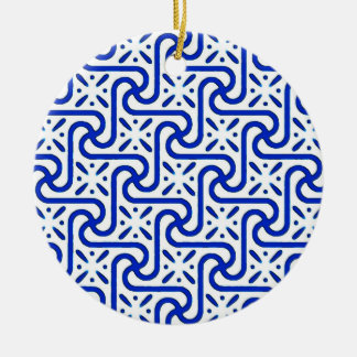 Egyptian tile pattern, white and cobalt blue christmas ornament