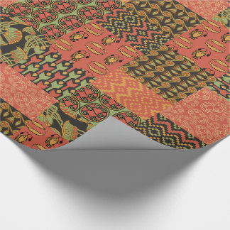 Egyptian Tribal Faux Patchwork Wrapping Paper