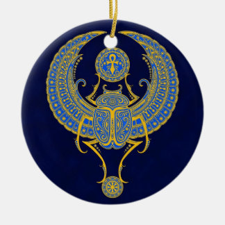 Egyptian Winged Scarab, Blue Christmas Ornament