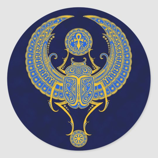 Egyptian Winged Scarab, Blue Classic Round Sticker