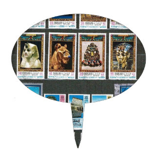 Egyptology on stamps cake toppers