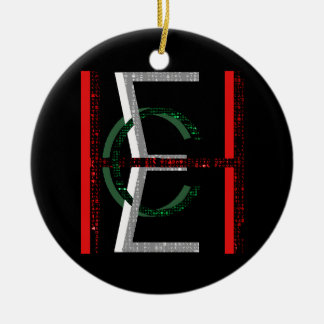 EHC Logo Upright Chaotic Matrix Black Double-Sided Ceramic Round Christmas Ornament