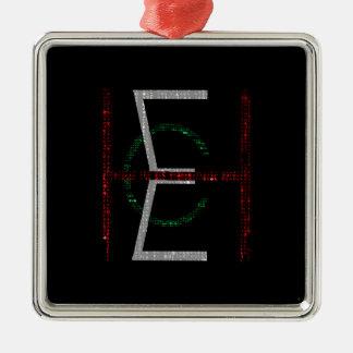 EHC Logo Upright Matrix Black Square Metal Christmas Ornament