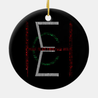 EHC Logo Upright Matrix Black Double-Sided Ceramic Round Christmas Ornament