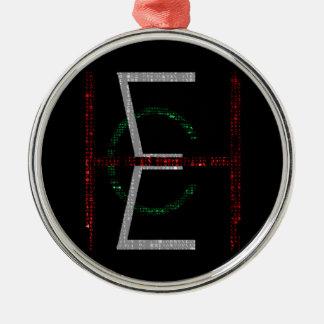EHC Logo Upright Matrix Black Silver-Colored Round Decoration