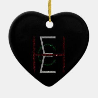 EHC Logo Upright Matrix Black Ceramic Heart Decoration