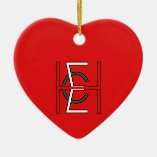 EHC Logo Upright Red Ceramic Heart Decoration