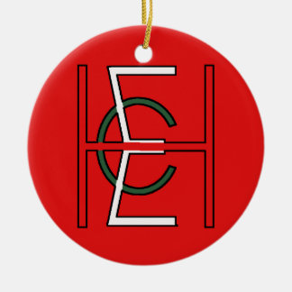 EHC Logo Upright Red Double-Sided Ceramic Round Christmas Ornament