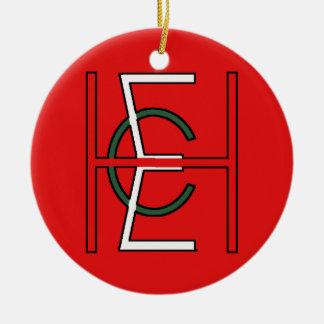 EHC Logo Upright Red Round Ceramic Decoration