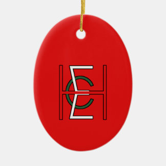 EHC Logo Upright Red Double-Sided Oval Ceramic Christmas Ornament