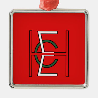 EHC Logo Upright Red Square Metal Christmas Ornament