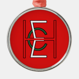 EHC Logo Upright Red Silver-Colored Round Decoration