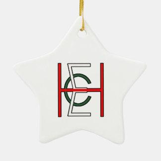 EHC Logo Upright White Ceramic Star Decoration