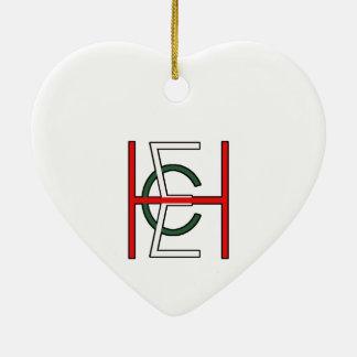 EHC Logo Upright White Double-Sided Heart Ceramic Christmas Ornament