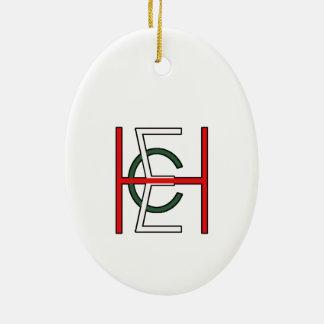 EHC Logo Upright White Ceramic Oval Decoration