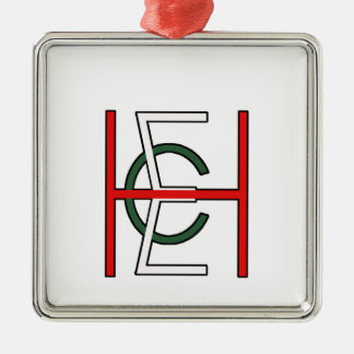 EHC Logo Upright White Silver-Colored Square Decoration