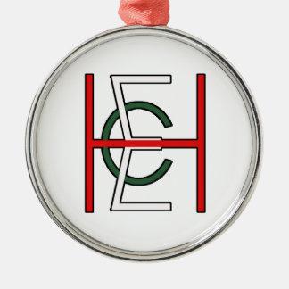 EHC Logo Upright White Round Metal Christmas Ornament