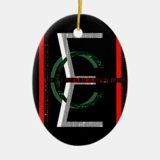 EHC Matrix Chaotic Symbol Double-Sided Oval Ceramic Christmas Ornament