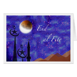 Eid al Fitr, Crescent Moon and Minarets Greeting Card
