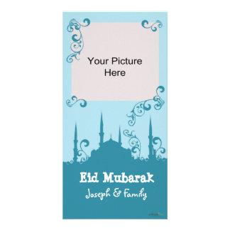 Eid Blue Swirl Photo Cards