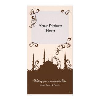 Eid Brown Pink Swirl Photo Cards