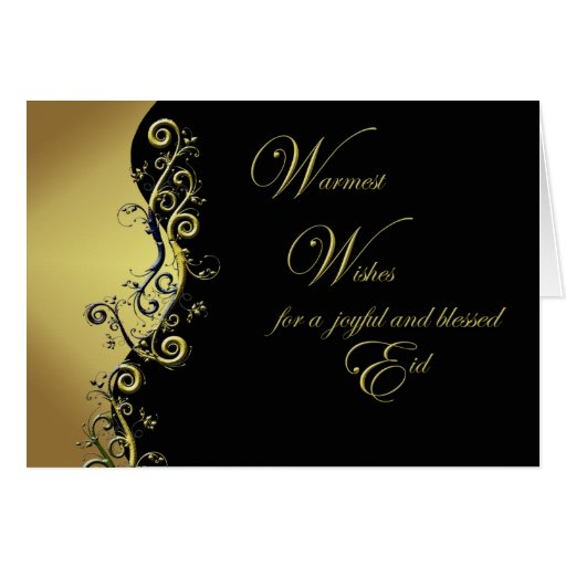 Eid card abstract floral design on black